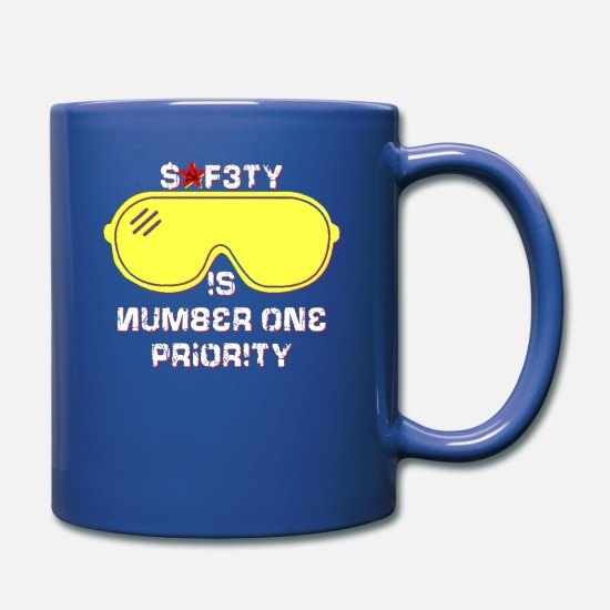 You Mugs & Drinkware - Safety Is Number One Priority - Crazy Russian Hacker Safetyglasses - Full Color Mug royal blue