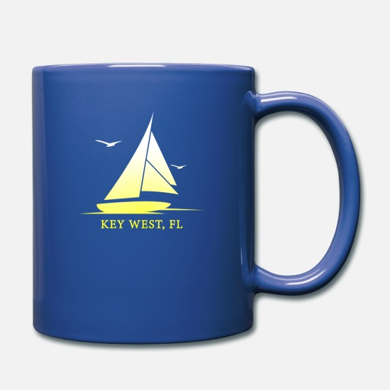 West Mugs & Drinkware - Key West Sailboat & Seagulls Souvenir - Full Color Mug royal blue