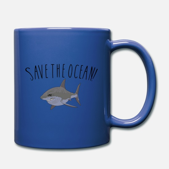 Shark Mugs & Drinkware - SAVE THE OCEAN! Shark - Full Color Mug royal blue