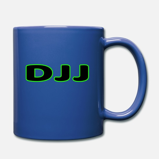 Djj Mugs & Drinkware - DJJ Text With Green Outline - Full Color Mug royal blue