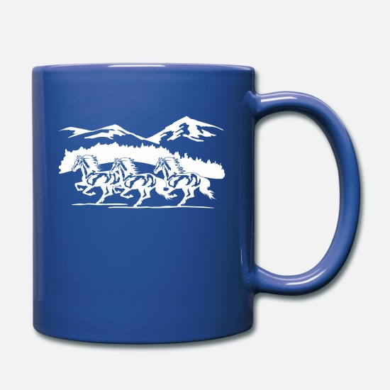 Horse Mugs & Drinkware - Wild Horse In The Forest Free - Full Color Mug royal blue