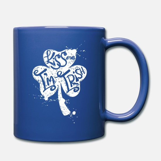 Boston Mugs & Drinkware - kiss me i'm irish - Full Color Mug royal blue