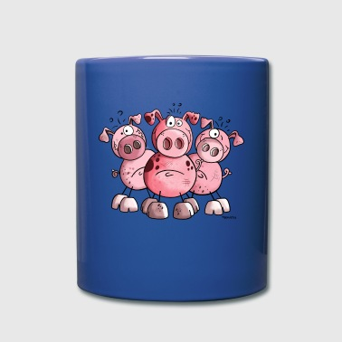 Three funny pigs - Pig - Sow - Cartoon - Gift  - Full Color Mug