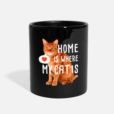 Home &amp home is where my cat is - Full Color Mug