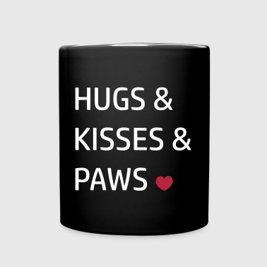 hugs & kisses paws I love Heart funny quote - Full Color Mug