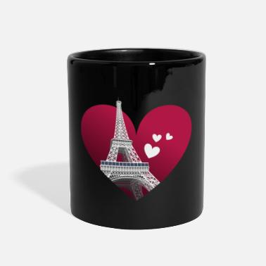 Valentines &amp Eiffel Tower & Hearts - Full Color Mug