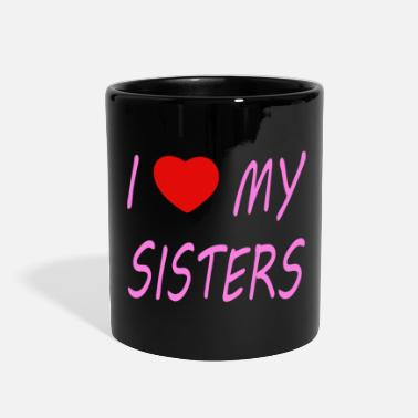 Best i love my sisters - pink with heart - Full Color Mug