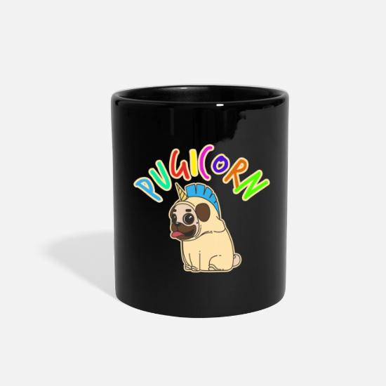 Owner Mugs & Drinkware - Pug Dog Pet Stuffed Animal bark unicorn - Full Color Mug black