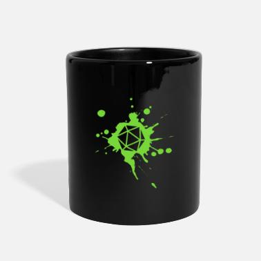 Dragon Polyhedral D20 Dice Paint Splatter Green Tabletop - Full Color Mug