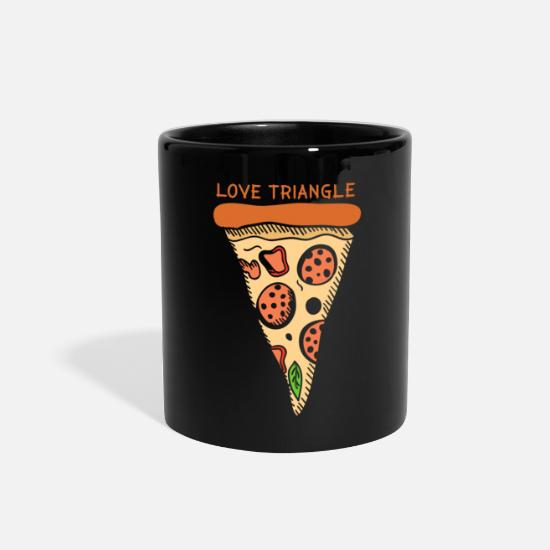 Love Mugs & Drinkware - Love Triangle pizza gift christmas lover - Full Color Mug black