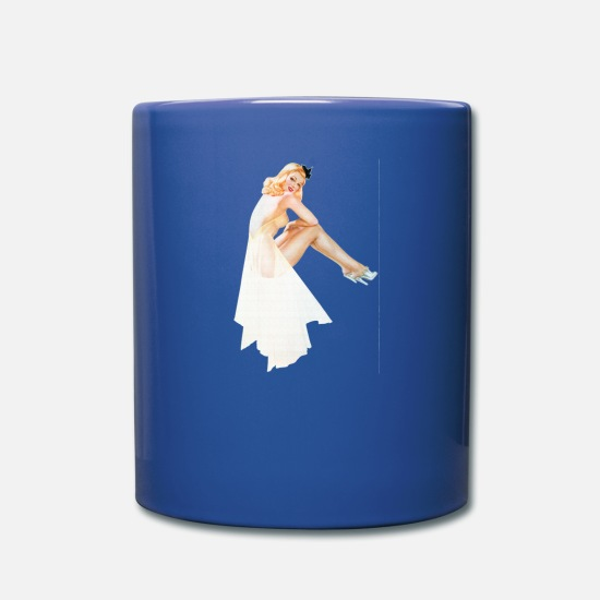 Sexy Mugs & Drinkware - Nostalgic Pin Up Girls Blond Woman Sitting - Full Color Mug royal blue