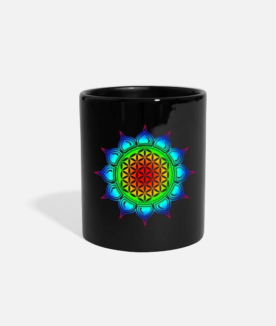 Buddha Mugs & Cups - Flower of life, Lotus-Flower, Heart Chakra, - Full Color Mug black