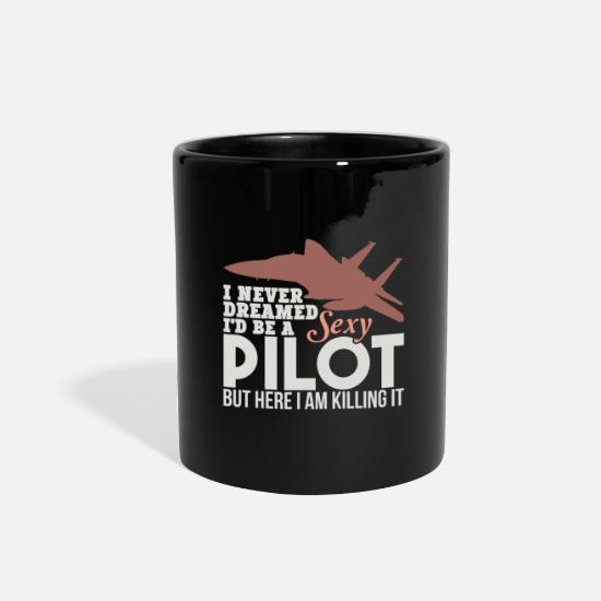 Navy Mugs & Drinkware - Funny Pilot TShirts Sexy Pilot US Navy Aviation - Full Color Mug black