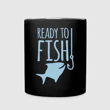 Ready to FISH with a fishy eating a hook - Full Color Mug