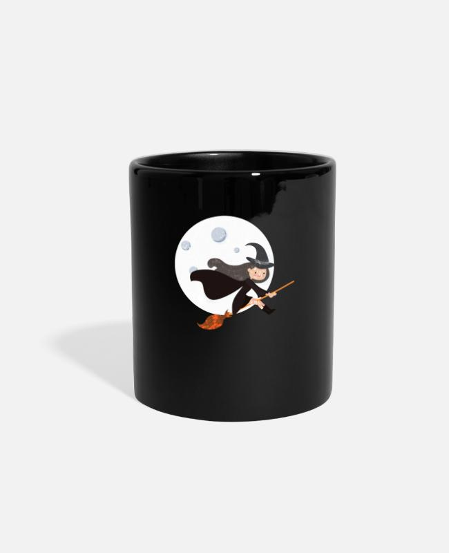 Space Mugs & Cups - Funny Moon - Woman Flying On Broom - Nighttime - Full Color Mug black