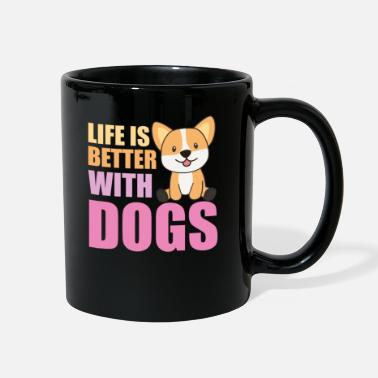 Pink Life Is Better With Dogs Sweet Corgi Dog Pink - Full Color Mug
