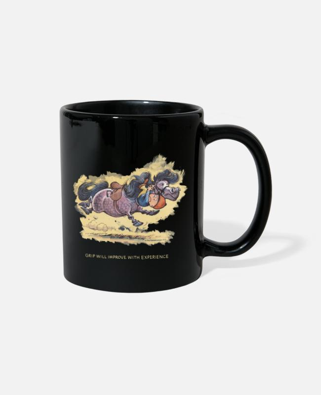 Riding Academy Mugs & Cups - Thelwell Grip will improve - Full Color Mug black