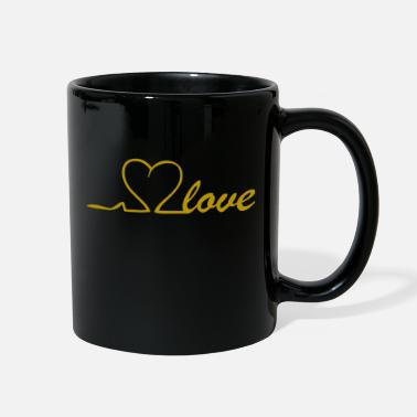 Heart Line Love Line in Gold with heart in the puls line - Full Color Mug