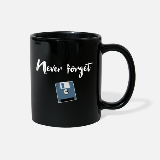 Floppy Disk Mugs & Drinkware - never forget floppy computer science floppy gift - Full Color Mug black