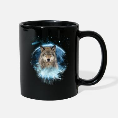 Wolf Grey Wolf Blue Moon Full Scape - Full Color Mug