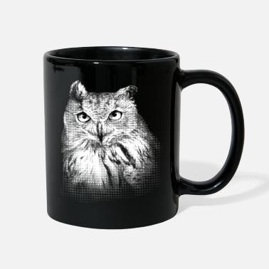 Nocturnal Bird Eagle Owl Portrait (dark background) - Full Color Mug