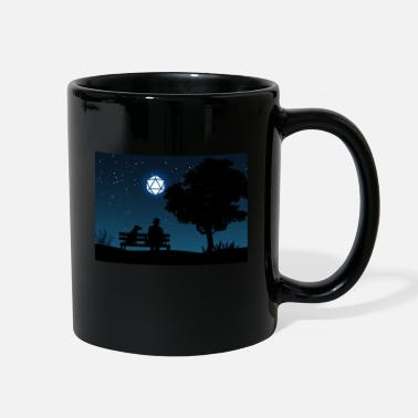 Man with Dog D20 Dice Moon Night Tabletop RPG - Full Color Mug