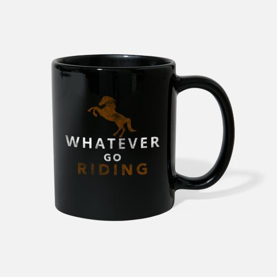 Horse Mugs & Drinkware - Horse riding horse stall hooves animal gift - Full Color Mug black