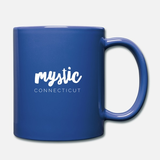 Groton Ct Mugs & Drinkware - Mystic Connecticut in White - Full Color Mug royal blue