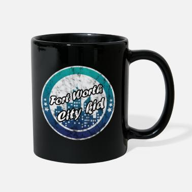 Texas Fort Worth city kid worn look - Full Color Mug