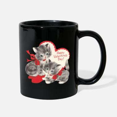 VALENTINES DAY KITTENS RED BOW & HEARTS - Full Color Mug