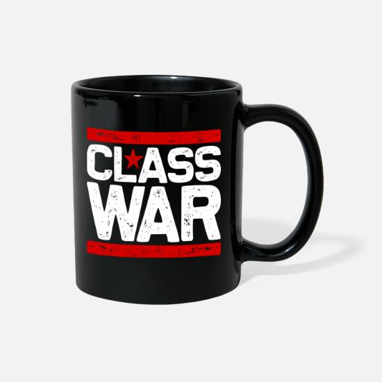 Anarchist Mugs & Drinkware - CLASS WAR (white) - Full Color Mug black