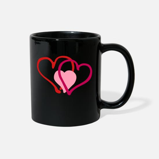 Love Mugs & Drinkware - Heart Hearts Love - Full Color Mug black