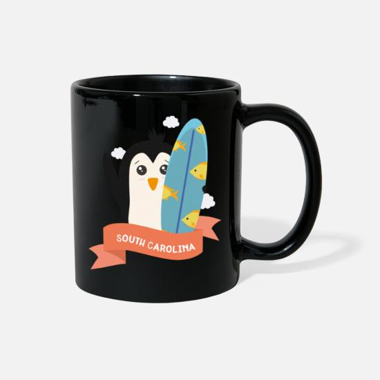 Beach Mugs & Drinkware - Penguin Surfer from South Carolina Gift - Full Color Mug black