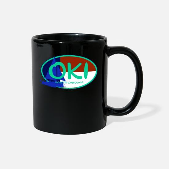 Vacation Mugs & Drinkware - OKI Oak Island North Carolina Flag Ocean Beaches - Full Color Mug black
