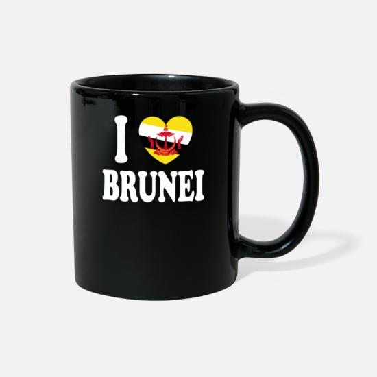 Heartbeat Mugs & Drinkware - I Love Brunei - Full Color Mug black