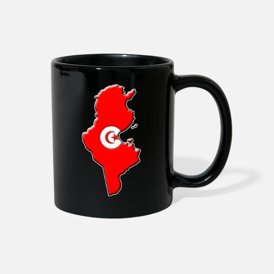Geography Mugs & Drinkware - Tunisia Flag Map - Full Color Mug black