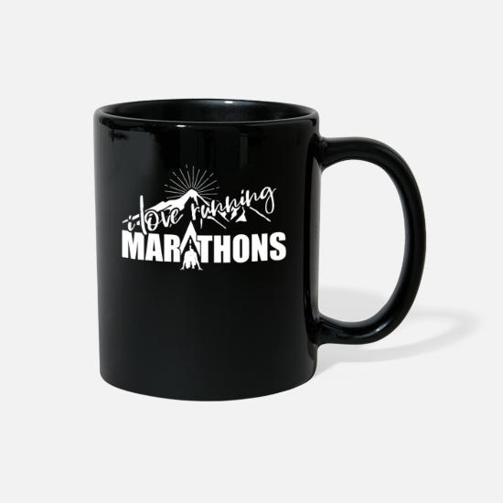 Running Mugs & Drinkware - Running Jogging Half Marathon Marathon Marathoner - Full Color Mug black