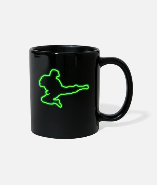 Martial Arts Mugs & Cups - Neon Tae Kwon Do Geometric Retro Gift Idea - Full Color Mug black