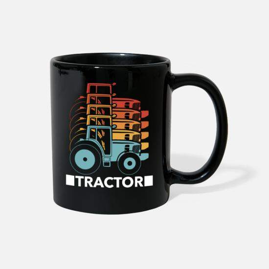 Vintage Car Mugs & Drinkware - Tractor Agriculture Farmer Retro Vintage - Full Color Mug black