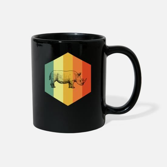 Animal Rights Activists Mugs & Drinkware - RHINOCEROS Retro Indian Rhinoceros Tee Shirt - Full Color Mug black