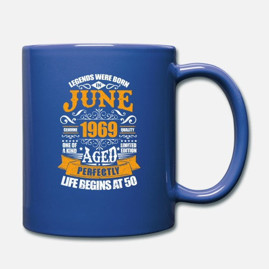 Age Mugs & Drinkware - June 1969 50th Birthday 50 Years Old Bday Party - Full Color Mug royal blue