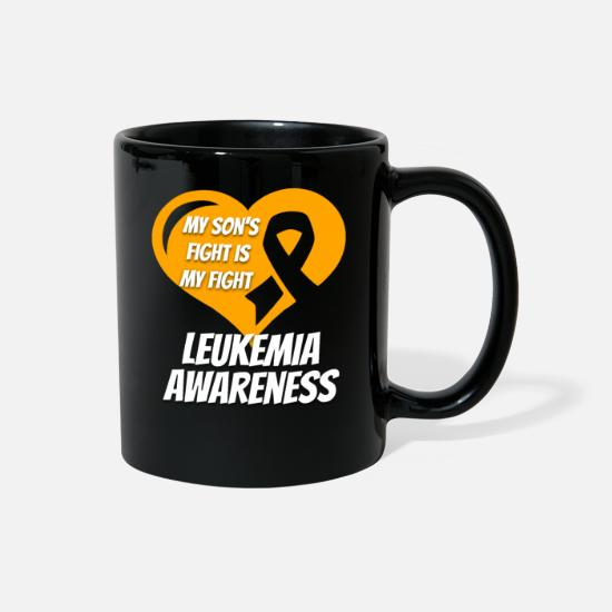 Cancer Mugs & Drinkware - Leukemia Shirt - My Son's Fight Is My Fight - Full Color Mug black
