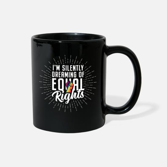 Gay Pride Mugs & Drinkware - Equality LGBT Queer Rainbow Flag PACE Equal rights - Full Color Mug black