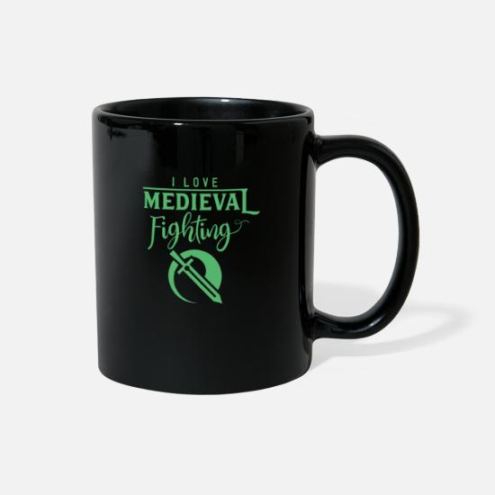 Medieval Mugs & Drinkware - Medieval Knight Fight Tournament - Full Color Mug black