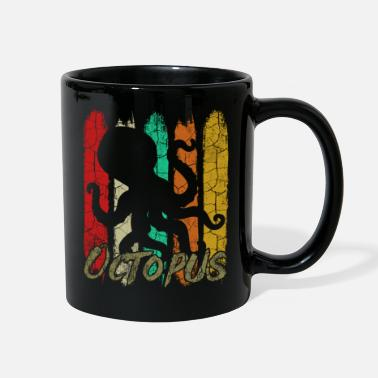 For Octopus Lovers Retro Style Vintage Octopus Silhouette 70s Ocean - Full Color Mug