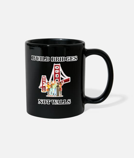 Resistance Mugs & Cups - Build Bridges Not Walls Shirt Immigration Liberal - Full Color Mug black