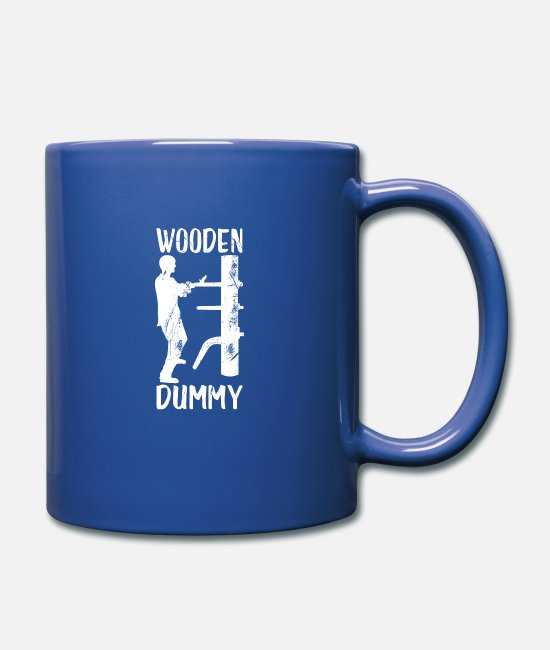Motivation Mugs & Cups - Kung Fu Wooden Doll - Full Color Mug royal blue