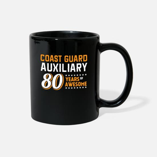 Funny Mugs & Drinkware - Coast Guard Auxiliary 80 Years of Awesome - Full Color Mug black
