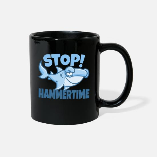 Funny Mugs & Drinkware - Stop Hammertime funny shark design. - Full Color Mug black