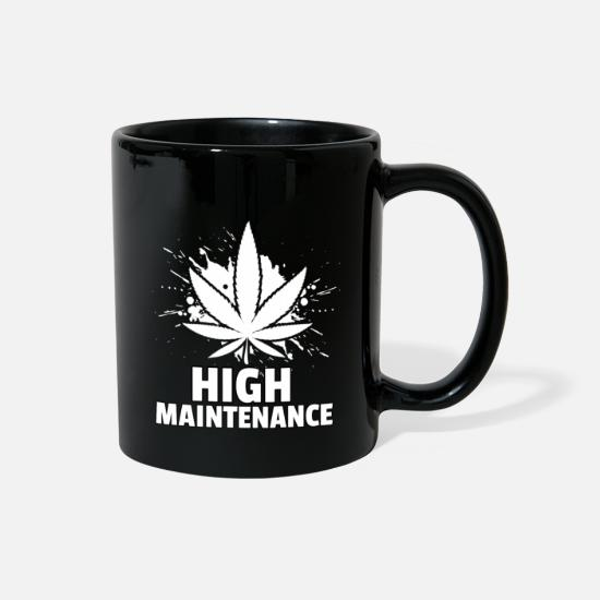 Ganja Mugs & Drinkware - Marijuana Weed Joint Ganja Grass Hemp THC Gift - Full Color Mug black
